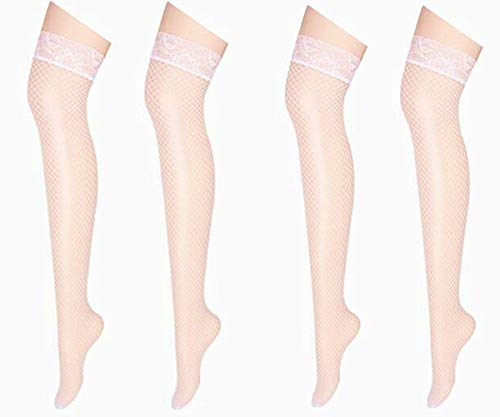 Sexy Women's Fishnet Mesh Long Socks - Fashion Lace Top Thigh High Stocking (2 pairs-White)