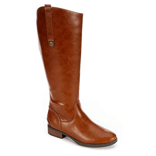XAPPEAL Womens Emery Wide Calf Leather Riding Boot Shoes, Brown, US 11
