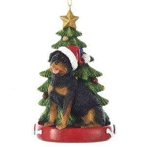 - Kurt Adler ROTTWEILER WITH CHRISTMAS TREE ANE LIGHTS ORNAMENT FOR PERSONALIZATION