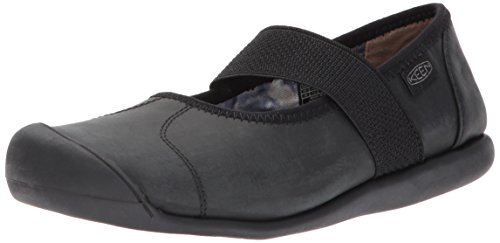 (KEEN Women's Sienna mj Leather-w Fashion Sneaker, Monochrome Black, 10 M US)