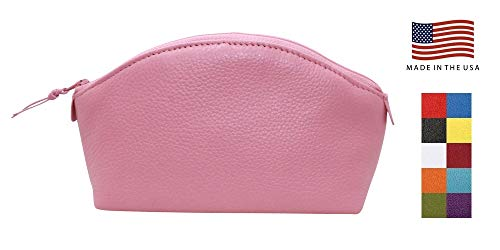 (Pink Colorado Collection Genuine Leather Cosmetic Bag - Made in USA by Real Leather Creations Factory Direct - Gift Box - Designer Quality Makeup Bag FBA1363)