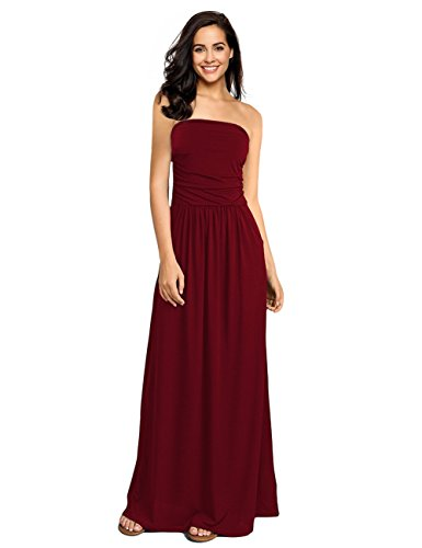 - GloryStar Women's Summer Boho Strapless Midi Dresses High Waist Vintage Floral Print Maxi Long Dress with Pockets Wine Red XL