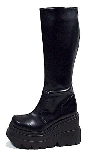 Gogo Dancer Rave Hipster Cosplay Kawaii Lolita Steampunk Victorian Womens Boots 9 Black ()