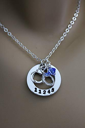 (Police Wife, Police Mom, Police Daughter Hand Stamped Necklace with Custom Badge Number, Handcuffs & Blue Swarovski Crystal)