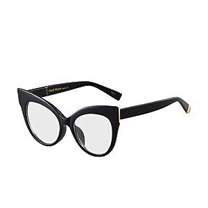 Oversized Cat Eye Frame UV400 Womens Sunglasses , Black Fashion Trend Eyewear (black-clear)