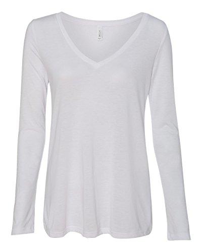 Bella Women's Side-Seamed Modern Flowy Vneck Long T-Shirt, XX-Large, White