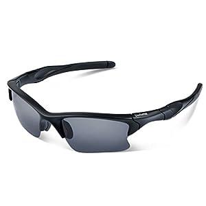 Duduma Polarized Sports Sunglasses for Men Women Baseball Fishing Golf Running Cycling Driving Softball Hiking Floating Unbreakable Shades Tr566(Black matte frame, Black lens)