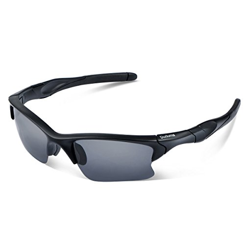 Duduma Polarized Sports Sunglasses for Men Women Baseball Fishing Golf Running Cycling Driving Softball Hiking Floating Unbreakable Shades Tr566(Black matte frame, Black lens)