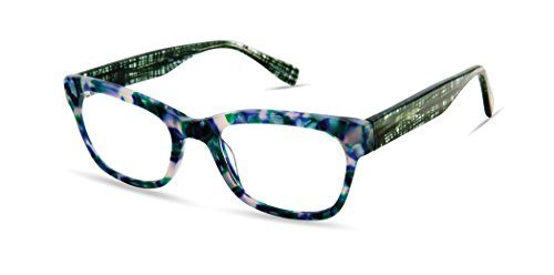 Surrey Lane - Rounded Square Trendy Fashion Reading Glasses for Men and Women - Emerald Pearl (+1.00 Magnification -