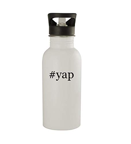 Yip Snap (Knick Knack Gifts #yap - 20oz Sturdy Hashtag Stainless Steel Water Bottle, White)