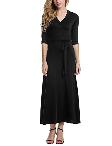 Beyove Femmes V Cou Robe Maxi Taille Cravate Wrap Manches 3/4 Floral Noir Complet Robe Longue