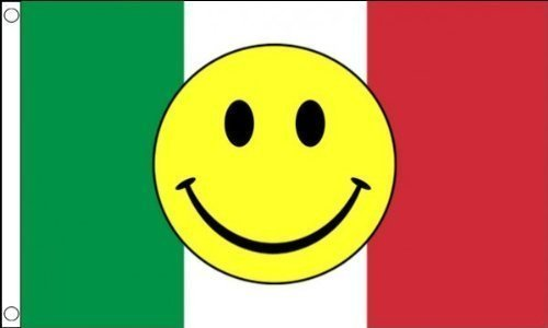 5ft x 3ft (150 x 90 cm) Italy Italian Smiley Face Acid 100% Polyester Material Flag Banner Ideal For Pub Club Party Decoration by Flag Co by Flag