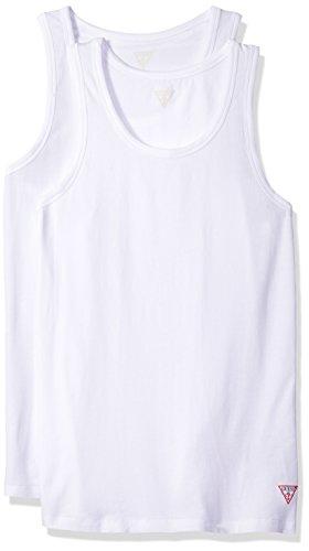 (GUESS Men's Logo Tank Top 2 Pack, Optic White, Medium)