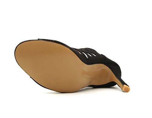 37 Misura Alti JC Tacco Black Cava 37 Eleganti Classici Tacchi Di Con Pesce Sandali Viola Bocca A Alto Marrone Colore Nero p14Rq
