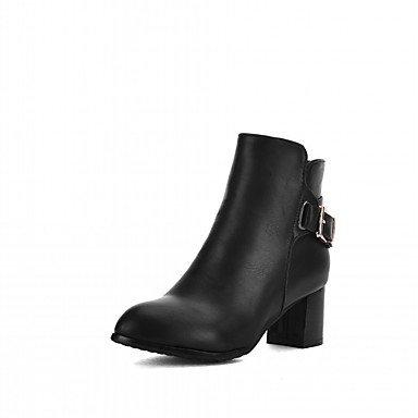 DESY Damen Schuhe Kunstleder Herbst Winter Komfort Neuheit Stiefeletten Stiefel Blockabsatz Runde Zehe Booties / Stiefeletten Schnalle Für gray