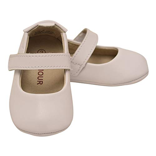 L`Amour Baby Girls White Leather Crib Soft Sole Mary Jane 5 ()