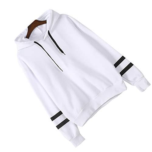 Femmes White Longues À Solides Avec Sweats Fille Manches Outwear Capuche Stripe rq4COxFwr