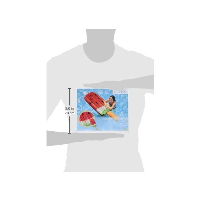 Helado de sandía hinchable Intex con diseño de impresión fotorrealista; medidas: 76 cm (ancho) x 191 cm (altura) Colchoneta fabricada en vinilo con grosor de 0.30 mm y extra resistente al cloro y al agua salada Soporta un peso máximo de 100 kg (1 persona); edad recomendada: a partir de 14 años