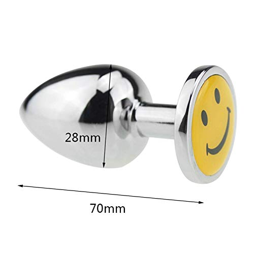 Letters-from-Iceland Touch Metal Anal Plug with Crystal Jewelry Butt Plug with Rhinestone No Vibrator Anal Beads Sex Toys for Men/Women Screw Small,SmileSmall