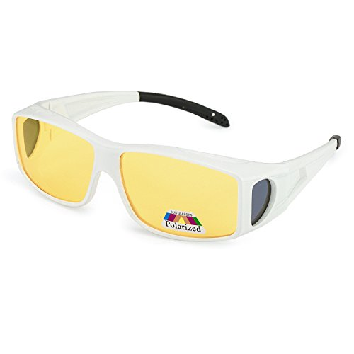 Around Glass (LVIOE Wrap Around Night Vision Glasses, Fit Over Prescription Glasses with HD Polarized Yellow Lens Night Driving Glasses (White Frame/Yellow Lens Night Vision Glasses, Yellow))
