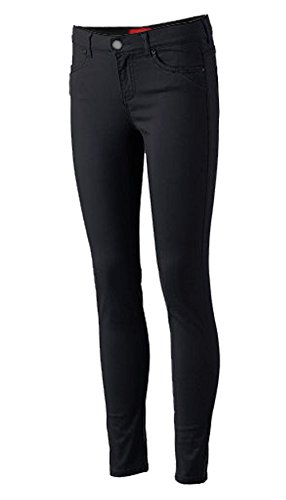 Pro5 Girls Junior School Uniform Skinny Stretched Pants Black/Navy/Khaki/Grey 0~15 (0, BLACK)