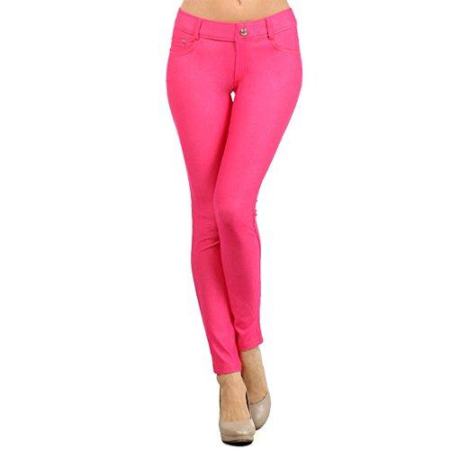 Hot Pink Denim - TZ Promise Women's Solid Color Full Length Skinny Denim Jeggings(Hot Pink, Small)