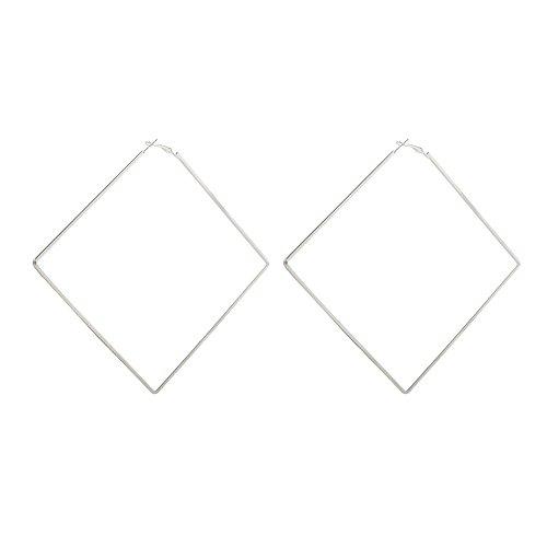 Extra Large Square Hoop Earrings for Women Metal Dangle Earring (Silver)