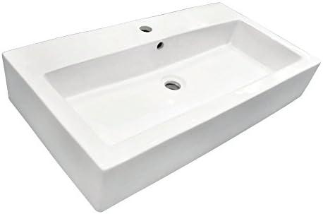 Kingston Brass EV3217 Adelaide Elongated 32 x 17-Inch Rectangular Vessel Sink, 31-1 2 x 17-1 8 x 5-1 2 , White