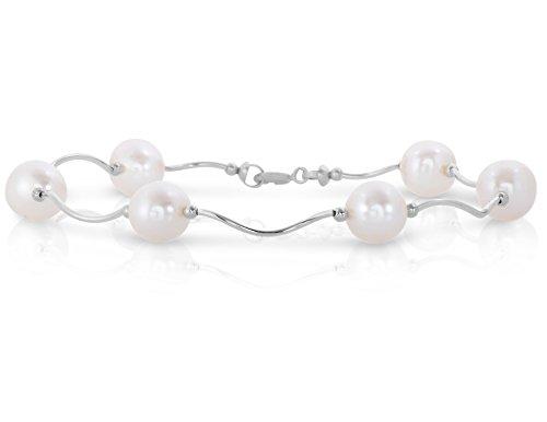 Art et Molly femmes de 14K Or Blanc Bar Lien torsadé tubes Station Bracelet avec perle de culture d'eau douce rondes