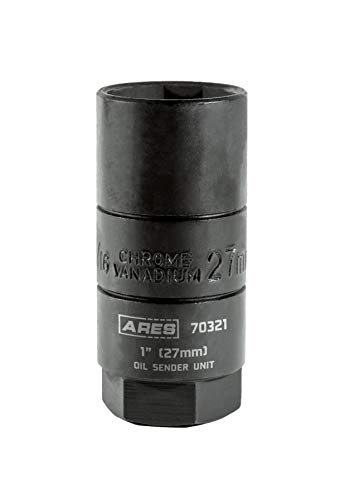ARES 70321 | 27mm 3/8-inch Drive Oil Sender Unit 1-inch Socket | Deep Design Allows for Oil Switch Retention | High Strength Chrome Vanadium Steel with Manganese Phosphate Coating