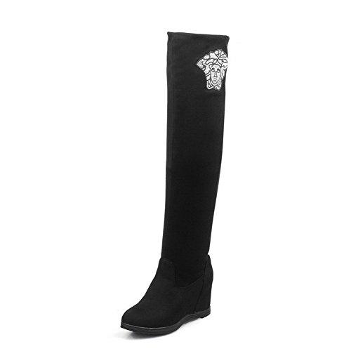 VogueZone009 Damen Hoch-Spitze Ziehen auf Hoher Absatz Stiefel mit Beschlagene Strass Schwarz