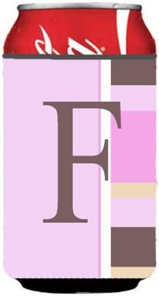 Caroline's Treasures Letter F Initial Monogram-Pink Stripes Can or Bottle Koozie Hugger, Multicolor
