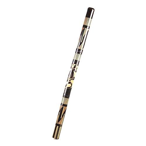 Didgeridoo Bambus Holz Aborigini Percussion bemalt geschnitzt Instrument fair Gecko Schildkröte Dot Painting geschnitzt schwarz