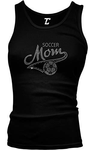 Soccer Mom - Rhinestone Sports Futbol Juniors Tank Top (Black, Large)