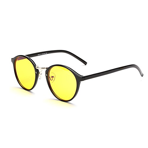 Vintage Retro Fashion (Cyxus Blue Light Filter Computer Glasses VIntage Retro Round for Blocking UV Minimize Headache Sleep Better Anti Eye Eyestrain Fashion Frame, Unisex (Men, Women) (yellow lens, black frame))