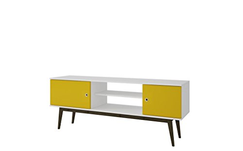 K&A Company Manhattan Comfort Accentuations Salem Splayed Leg Tv Standin White and Yellow. by K&A Company