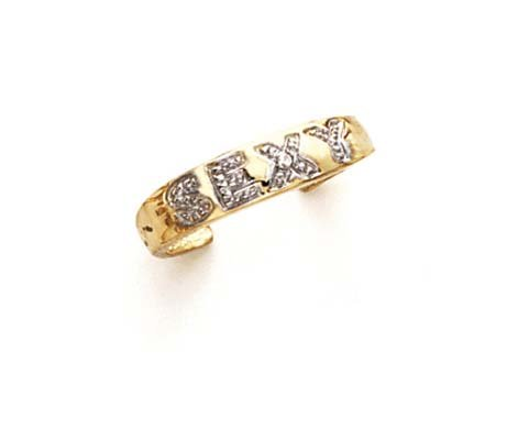 Gold Sexy Toe Ring - 14k Two-Tone Gold Diamond Sexy Toe Ring