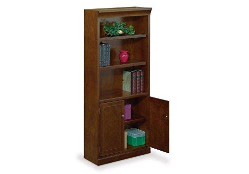 five-shelf-chestnut-cherry-veneer-bookcase-with-doors-72-h-statesman-collection