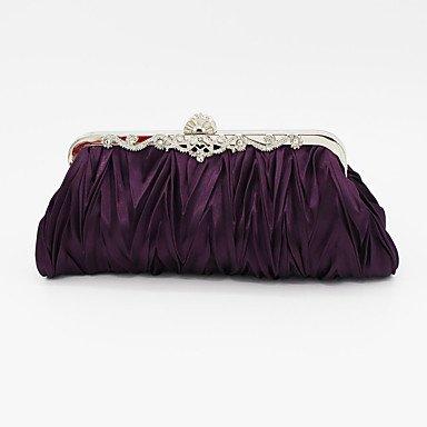FYios Bodas Formales Fucsia Satinado Purple de de Noche Fiesta Las Mujeres Evento Bolsa prxqpB