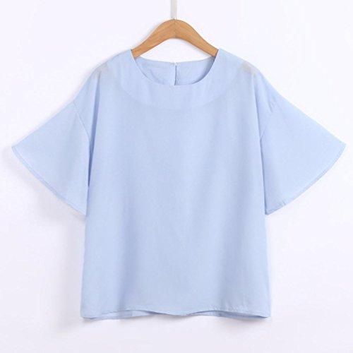 Bleu Casual Manche Blouse Round Tops Court Hault LaChe T Col Shirt Grande LGante Taille Sexy Chic Chemisier Femme XRwtxHT7q