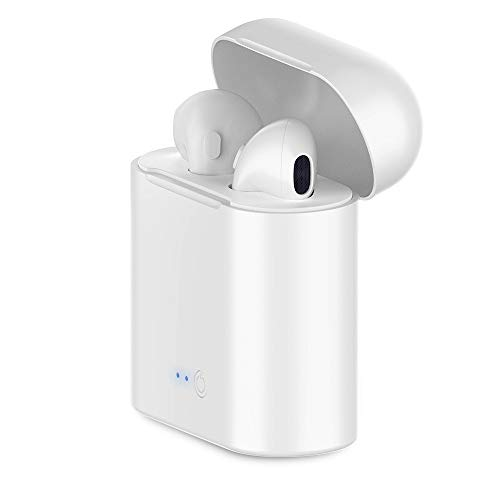 Wireless Earbuds Bluetooth Headphones,Bluetooth 5.0 Auto Pairing in-Ear Headphones with Airpods Portable Case Wireless Charging Case(White)