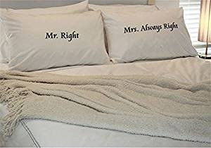 PopDesigners Mr Right & Mrs Always Right Set of Two White Printed Pillowcases Gift For Valentine's Day