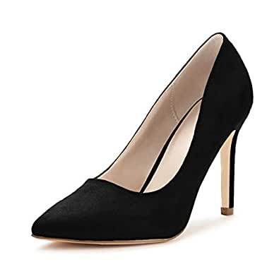Nailyhome Womens High Heels Pointed Toe Slip on Stiletto Pumps Wedding Work Shoes for Women Black Size: 6