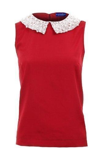 Zafiro Mujer Pedrería Perla Lentejuelas Cuello Rojo Color Carne Chifón Top De Fiesta Para Damas Blusa