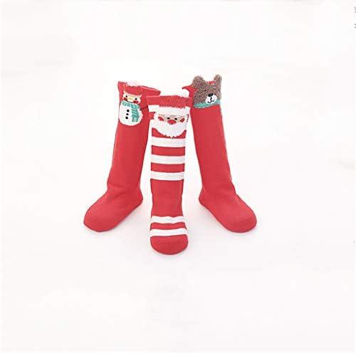 3組の赤いクリスマスソックス膝の高い、楽しいカラフルなお祝い (色 : Multicolor 02, サイズ : 1-3 Years)