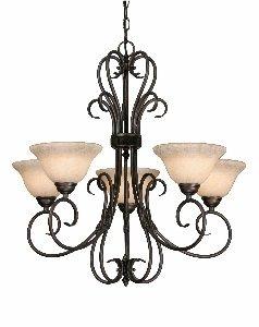Rbz Rubbed Bronze Chandelier (Golden Lighting 8606-5 RBZ Homestead Five Light Chandelier, Rubbed Bronze Finish)