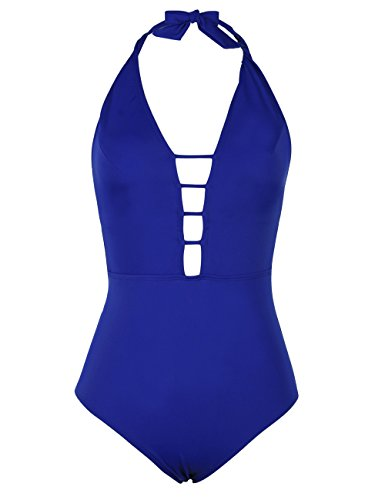 Hilor Women's Lace Up One Piece Swimsuit Halter Bikini High Waisted Swimwear 4 Royal Blue (Bathing Piece Blue One Suit Royal)