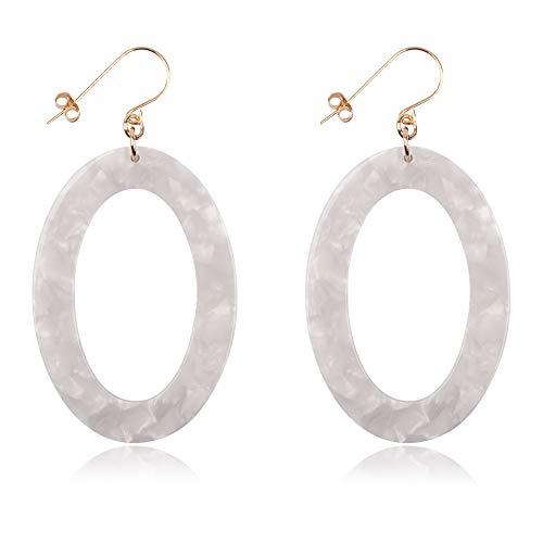 - Hoop Earrings for Women Girls Acetate Statement Hypoallergenic Geometric Hexagon Acrylic Tortoise Earring (light grey-white Ellipse)