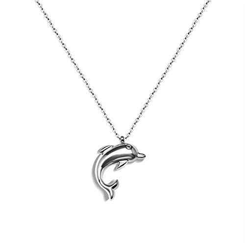 Chenghao 18K Gold Plated 316L Stainless Steel Lovely Dolphin Pendant Necklace Women Girls (ch000002) (Silver) ()