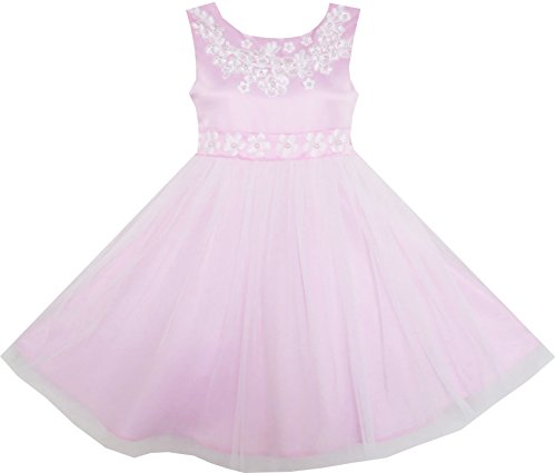 JA61 Girls Dress Sleeveless Embroidered Flower Tulle Overlay Pink Size (Embroidered Flower Fashion)